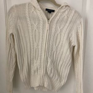 Full zip cable knit sweater